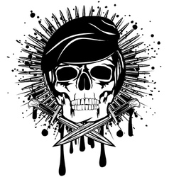 Skull in beret crossed knives on grunge splash vector