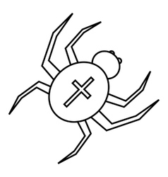 Spider with cross on back icon outline style vector