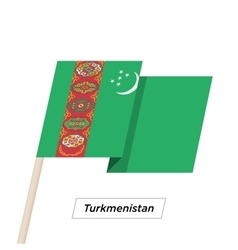 Turkmenistan ribbon waving flag isolated on white vector