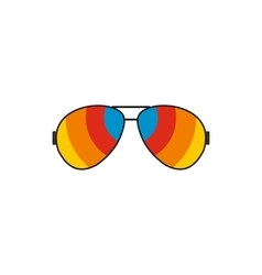 Glasses with rainbow lenses icon flat style vector