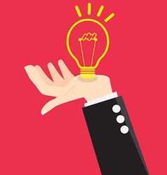Bulb light good idea in hand vector