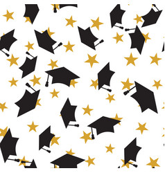 Graduate hat seamless pattern vector