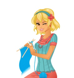 Girl knitting vector