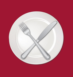 Table setting set fork knife empty plate cutlery vector