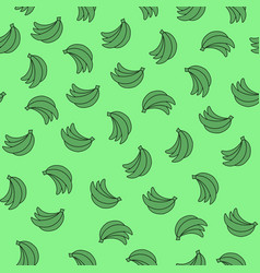 Seamless pattern with bananas on green background vector