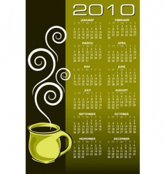 2010 coffee calendar vector image vector image