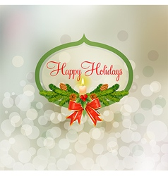 holiday badge with snowy background vector image