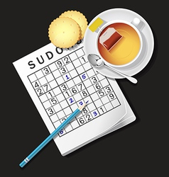 Sudoku game mug of tea crackers vector