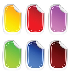 Sticker in six color set three vector