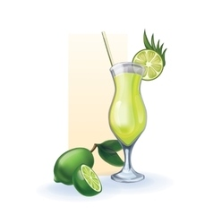 Lime in goblet of juice cocktail smoothie vector