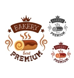 Bakery emblem with swiss roll cake vector