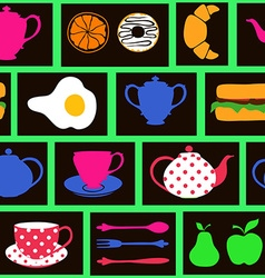 Seamless pattern of breakfast food and drink vector