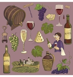 Hand drawn set - wine and winemaking vector
