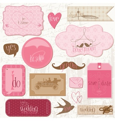 romantic wedding tags vector image