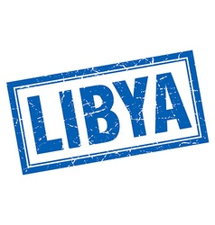 Libya blue square grunge stamp on white vector