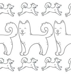 Cute cartoon doodle dog hand-drawn character vector