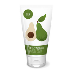 Avocado cosmetics white tube vector