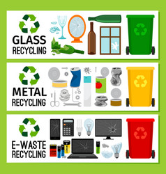 Banners with glass metal e-waste trash vector