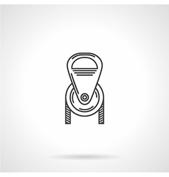 Black line pulley icon vector