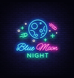 Blue moon night club logo in neon style neon sign vector