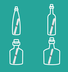 bottle with note stroke icons set vector image