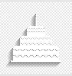 Cake with candle sign white icon with vector