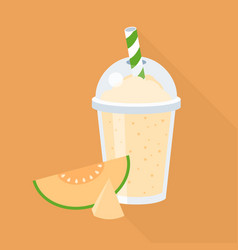 Cantaloupe smoothie in plastic glass vector