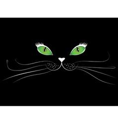 Cartoon cat face in black vector image