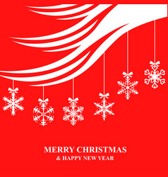 christmas card with hanging snowflakes baubles vector image vector image