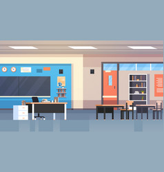 Class room interior school classroom with board vector
