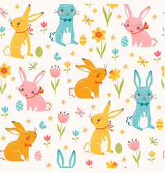 Colorful easter bunnies pattern vector