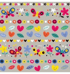 Cute butterflies hearts and flowers pattern vector