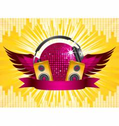 disco ball party shield vector image vector image