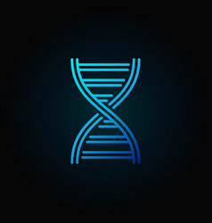 Dna spiral blue outline concept icon vector