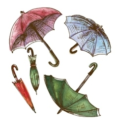Drawing watercolor set of umbrellas vector