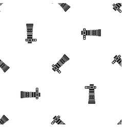 Dslr camera with zoom lens pattern seamless black vector