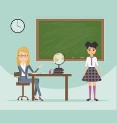 female teacher and schoolgirl in school uniform vector image vector image