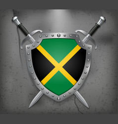Flag of jamaica medieval background vector