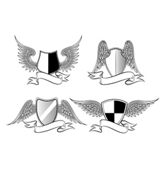 Heraldic shields with wings vector image