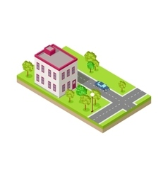 Isometric Icon of Two Storey House Near Road vector image vector image