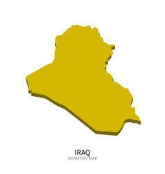 Isometric map of iraq detailed vector