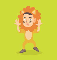little caucasian boy wearing a lion costume vector image