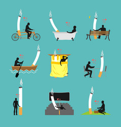lover smoke set man and cigarette in picnic vector image vector image