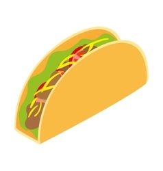 Mexican taco isometric 3d icon vector