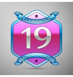 Nineteen years anniversary celebration silver logo vector