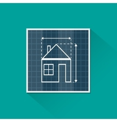Paper house plan with dimension lines vector image