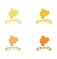 Set of paper stickers on white background Ecuador vector image vector image