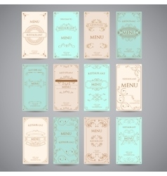 Set of vintage luxury greeting restaurant menu vector