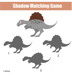 Shadow matching game kids activity with dinosaur vector