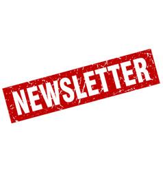 Square grunge red newsletter stamp vector